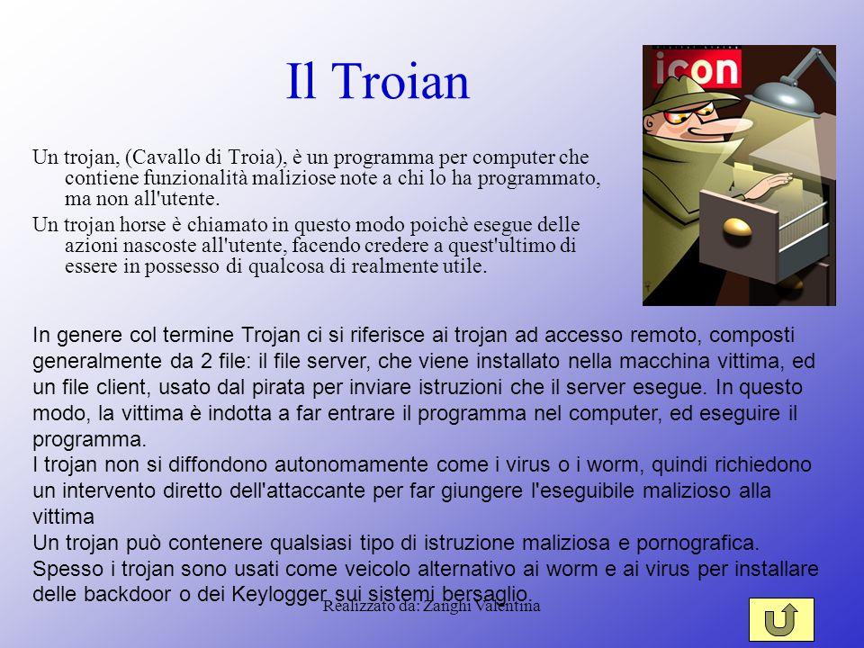 Realizzato da: Zanghi Valentina Il Troian Un trojan, (Cavallo di Troia), è un programma per computer che contiene funzionalità maliziose note a chi lo ha programmato, ma non all utente.