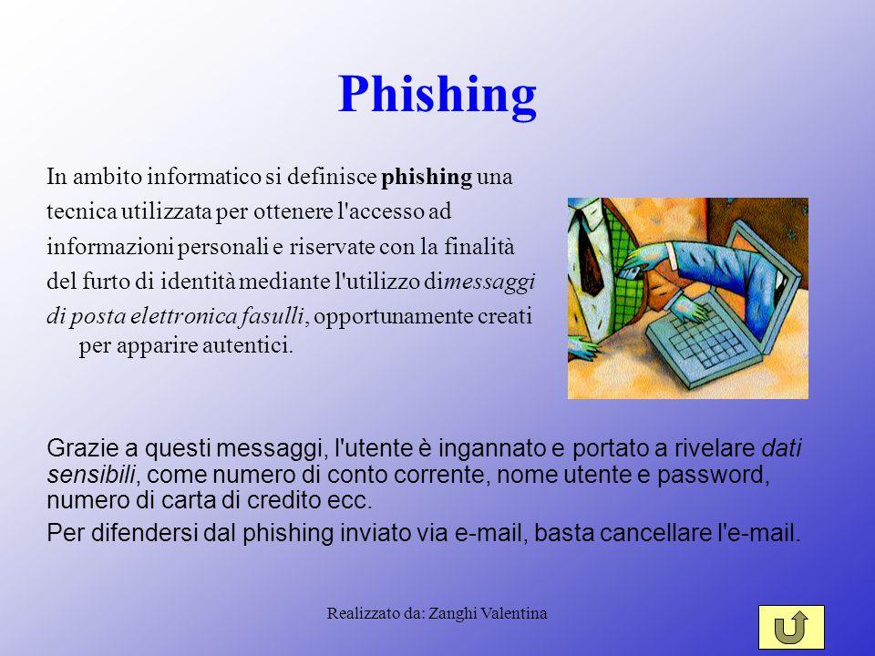 Realizzato da: Zanghi Valentina Phishing In ambito informatico si definisce phishing una tecnica utilizzata per ottenere l'accesso ad informazioni per