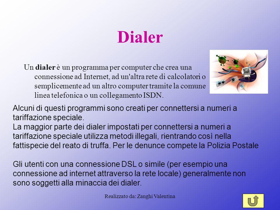 Realizzato da: Zanghi Valentina Dialer Un dialer è un programma per computer che crea una connessione ad Internet, ad un altra rete di calcolatori o semplicemente ad un altro computer tramite la comune linea telefonica o un collegamento ISDN.