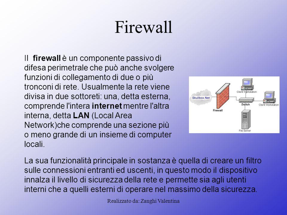 Realizzato da: Zanghi Valentina Firewall Il firewall è un componente passivo di difesa perimetrale che può anche svolgere funzioni di collegamento di due o più tronconi di rete.