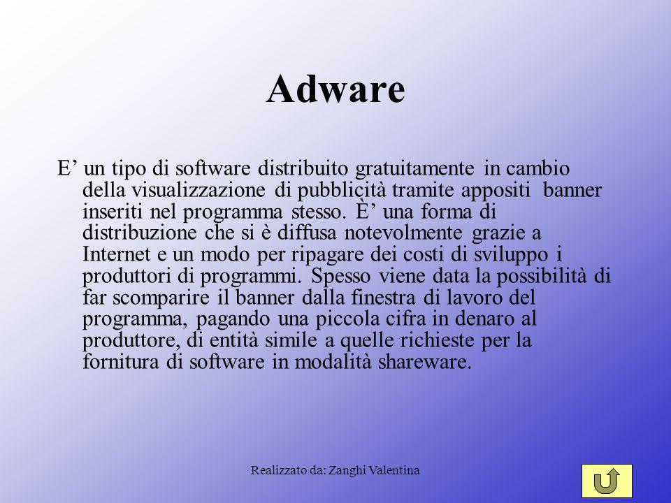 Realizzato da: Zanghi Valentina Adware E' un tipo di software distribuito gratuitamente in cambio della visualizzazione di pubblicità tramite appositi banner inseriti nel programma stesso.