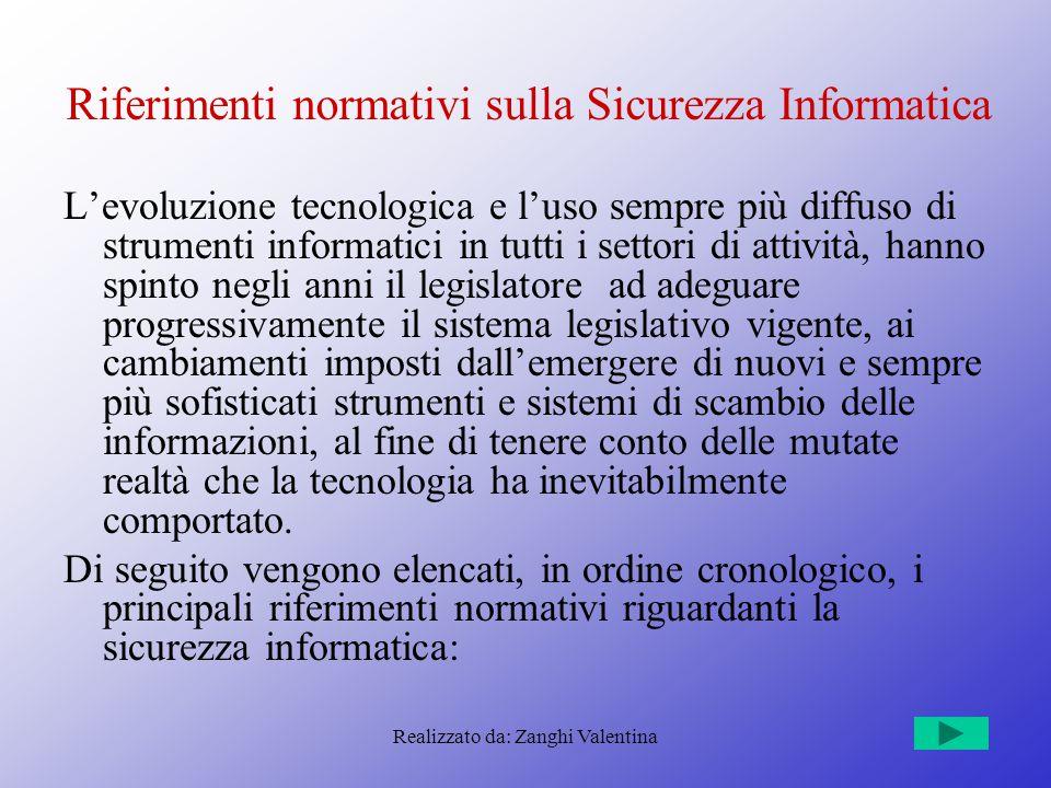 Realizzato da: Zanghi Valentina Riferimenti normativi sulla Sicurezza Informatica L'evoluzione tecnologica e l'uso sempre più diffuso di strumenti inf