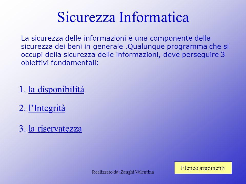 Realizzato da: Zanghi Valentina Sicurezza Informatica La sicurezza delle informazioni è una componente della sicurezza dei beni in generale.Qualunque
