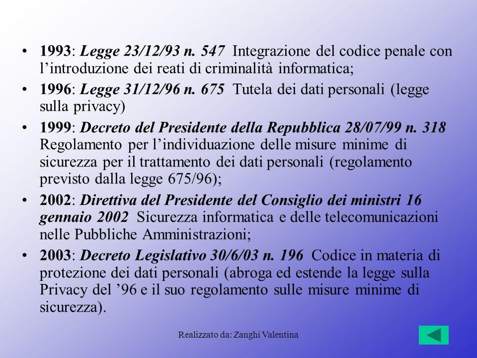 Realizzato da: Zanghi Valentina 1993: Legge 23/12/93 n. 547 Integrazione del codice penale con l'introduzione dei reati di criminalità informatica; 19