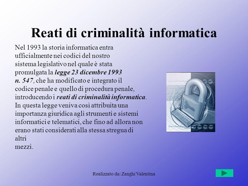 Realizzato da: Zanghi Valentina Reati di criminalità informatica Nel 1993 la storia informatica entra ufficialmente nei codici del nostro sistema legislativo nel quale è stata promulgata la legge 23 dicembre 1993 n.