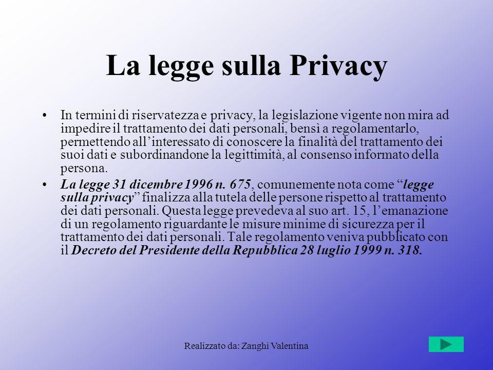 Realizzato da: Zanghi Valentina La legge sulla Privacy In termini di riservatezza e privacy, la legislazione vigente non mira ad impedire il trattamen