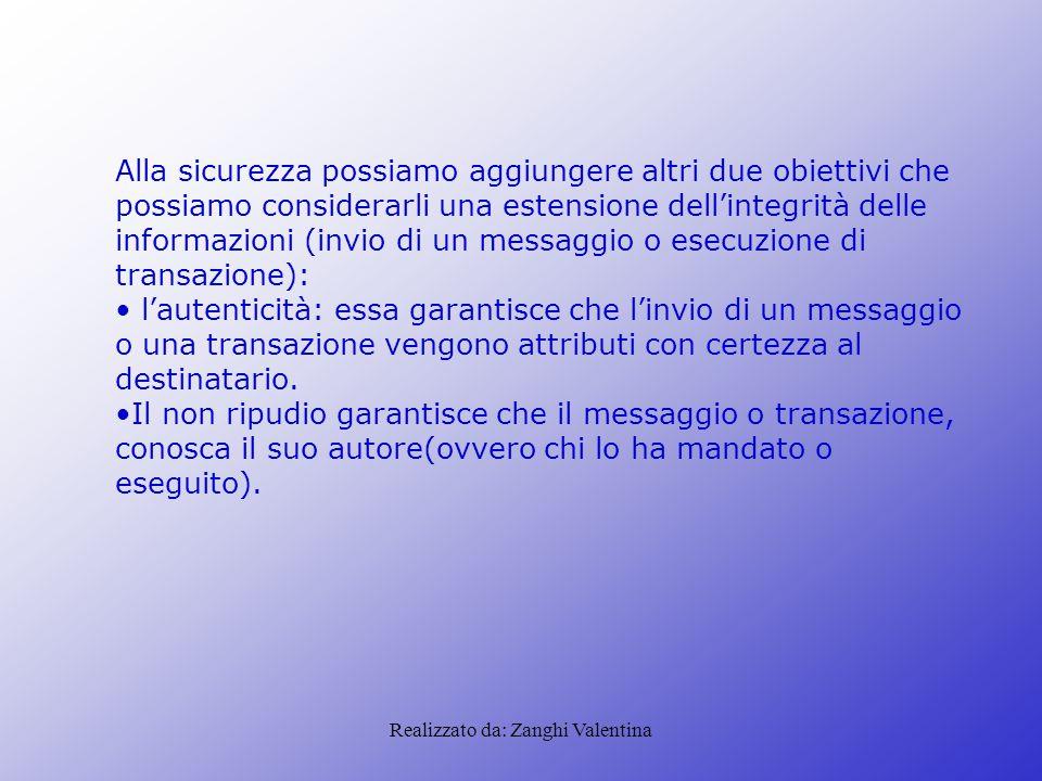 Realizzato da: Zanghi Valentina Alla sicurezza possiamo aggiungere altri due obiettivi che possiamo considerarli una estensione dell'integrità delle i