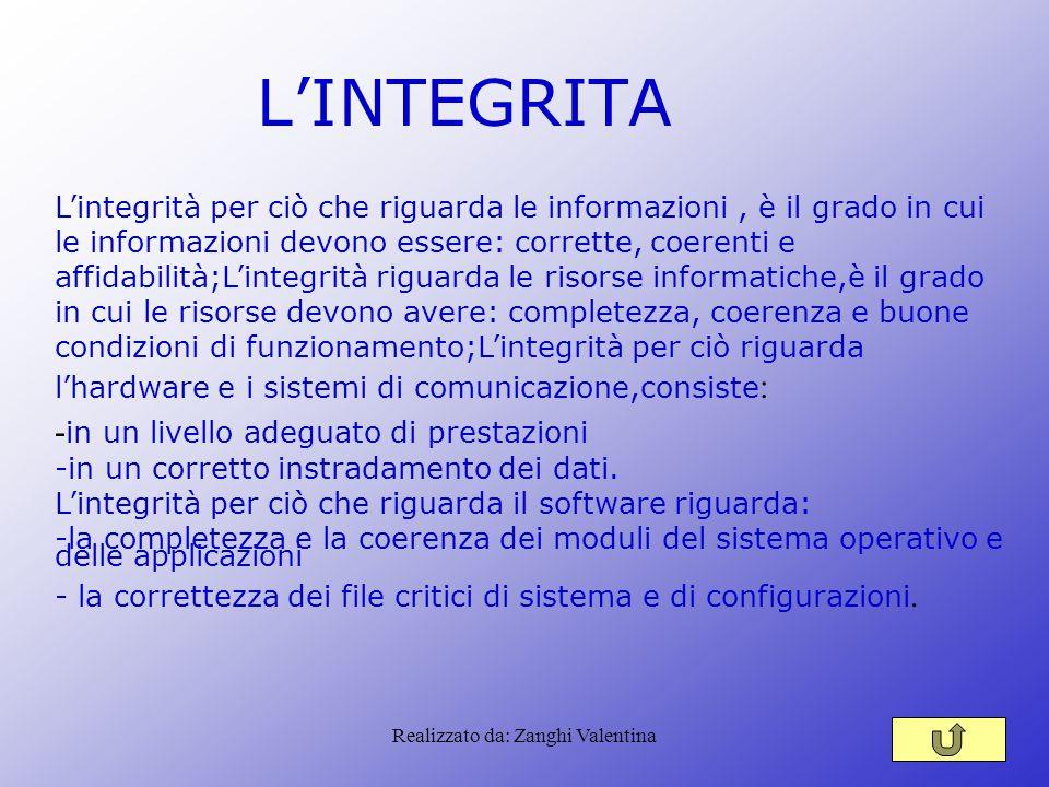 Realizzato da: Zanghi Valentina L'INTEGRITA L'integrità per ciò che riguarda le informazioni, è il grado in cui le informazioni devono essere: corrett