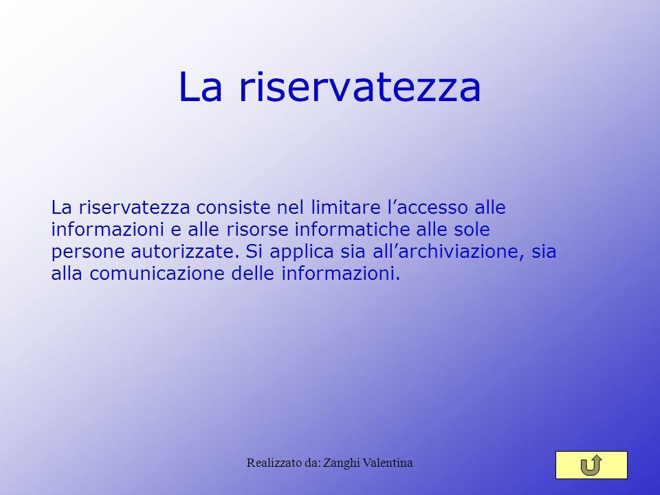Realizzato da: Zanghi Valentina La riservatezza La riservatezza consiste nel limitare l'accesso alle informazioni e alle risorse informatiche alle sole persone autorizzate.