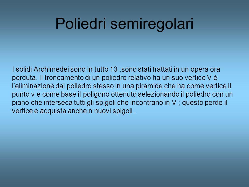 Poliedri semiregolari I solidi Archimedei sono in tutto 13,sono stati trattati in un opera ora perduta. Il troncamento di un poliedro relativo ha un s