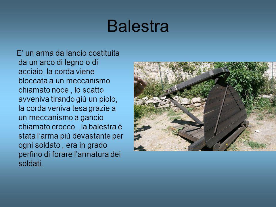 Balestra E' un arma da lancio costituita da un arco di legno o di acciaio, la corda viene bloccata a un meccanismo chiamato noce, lo scatto avveniva t