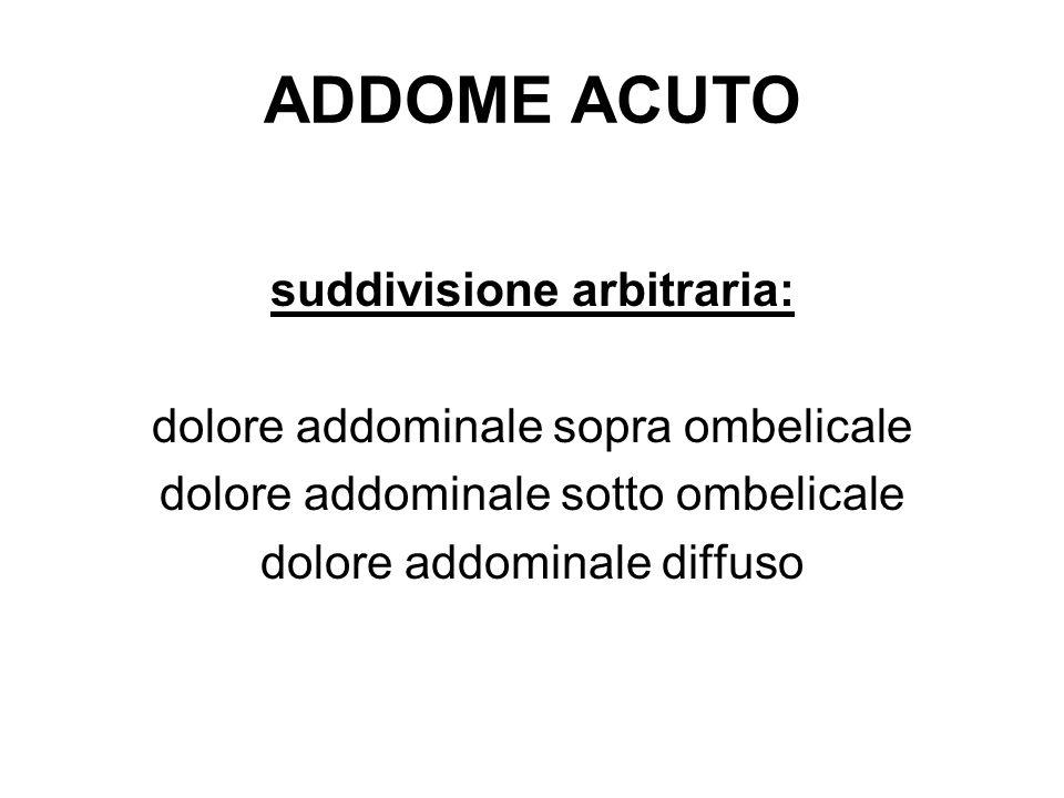ADDOME ACUTO suddivisione arbitraria: dolore addominale sopra ombelicale dolore addominale sotto ombelicale dolore addominale diffuso