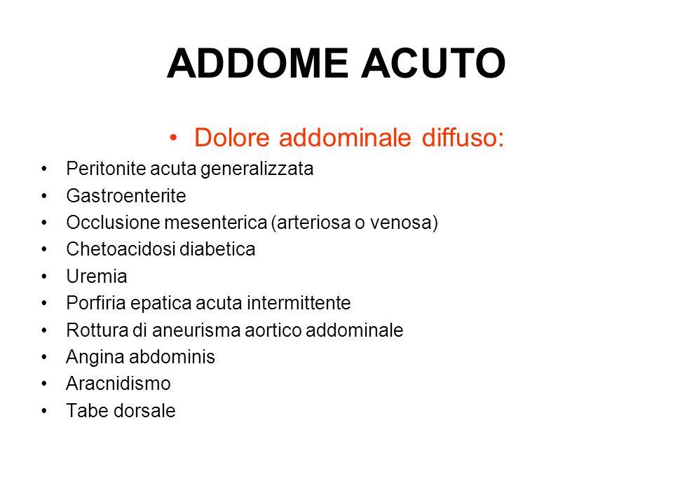 ADDOME ACUTO Dolore addominale diffuso: Peritonite acuta generalizzata Gastroenterite Occlusione mesenterica (arteriosa o venosa) Chetoacidosi diabeti