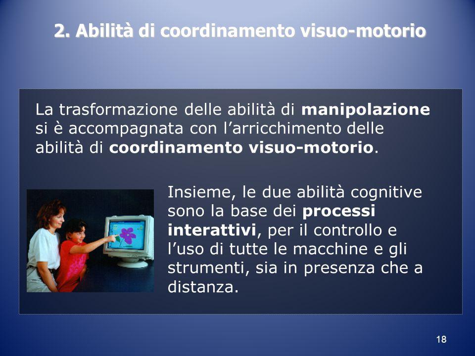 18 2. Abilità di coordinamento visuo-motorio La trasformazione delle abilità di manipolazione si è accompagnata con l'arricchimento delle abilità di c