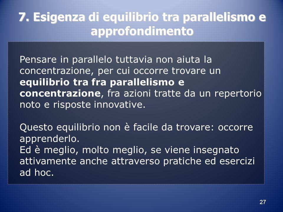 27 7. Esigenza di equilibrio tra parallelismo e approfondimento Pensare in parallelo tuttavia non aiuta la concentrazione, per cui occorre trovare un