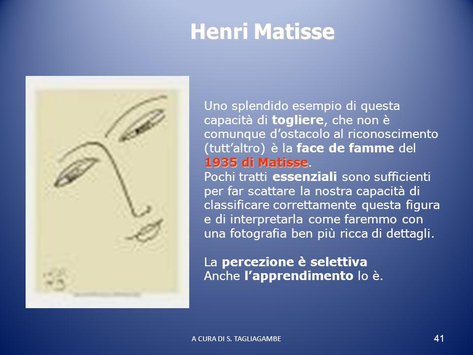 41 1935 di Matisse Uno splendido esempio di questa capacità di togliere, che non è comunque d'ostacolo al riconoscimento (tutt'altro) è la face de fam