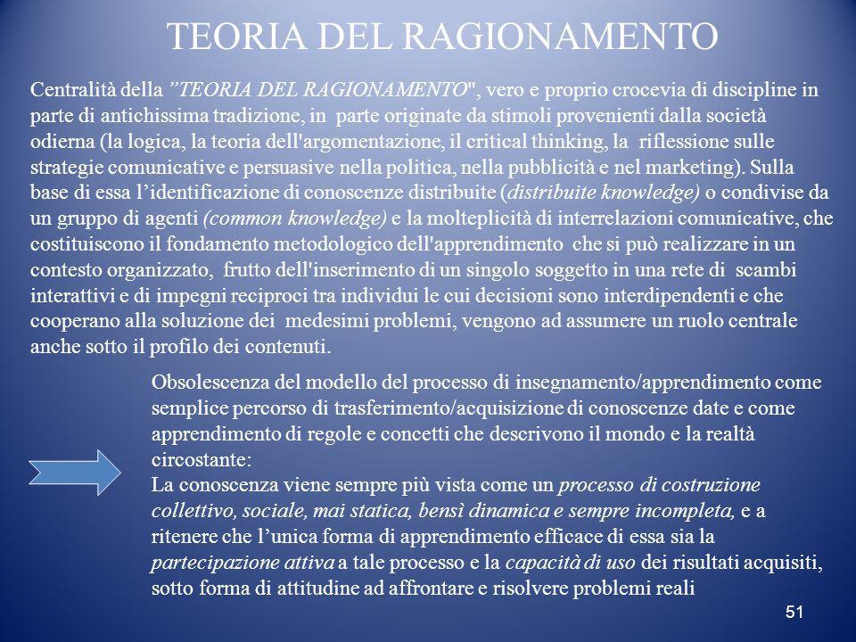"""51 TEORIA DEL RAGIONAMENTO Centralità della """"TEORIA DEL RAGIONAMENTO"""
