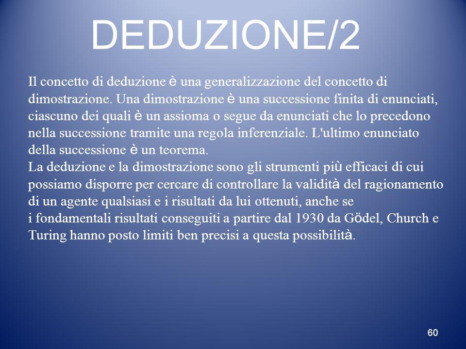 60 DEDUZIONE/2 Il concetto di deduzione è una generalizzazione del concetto di dimostrazione. Una dimostrazione è una successione finita di enunciati,
