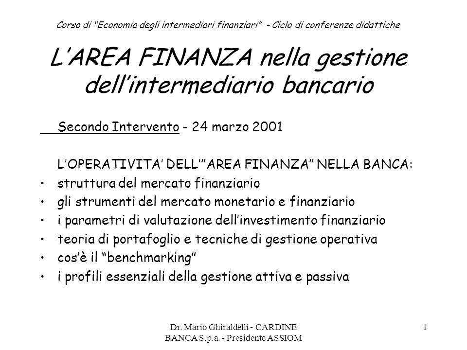 """Dr. Mario Ghiraldelli - CARDINE BANCA S.p.a. - Presidente ASSIOM 1 Corso di """"Economia degli intermediari finanziari"""" - Ciclo di conferenze didattiche"""