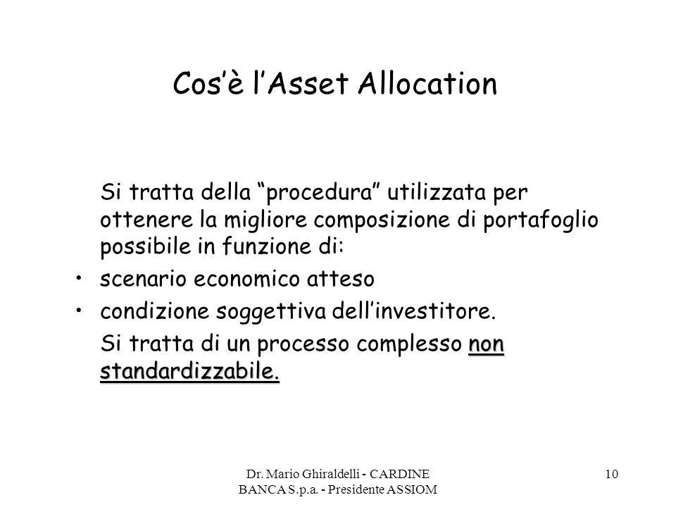 """Dr. Mario Ghiraldelli - CARDINE BANCA S.p.a. - Presidente ASSIOM 10 Cos'è l'Asset Allocation Si tratta della """"procedura"""" utilizzata per ottenere la mi"""