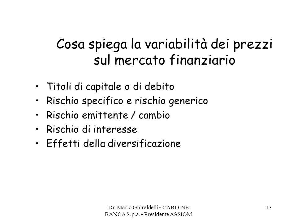 Dr. Mario Ghiraldelli - CARDINE BANCA S.p.a. - Presidente ASSIOM 13 Cosa spiega la variabilità dei prezzi sul mercato finanziario Titoli di capitale o