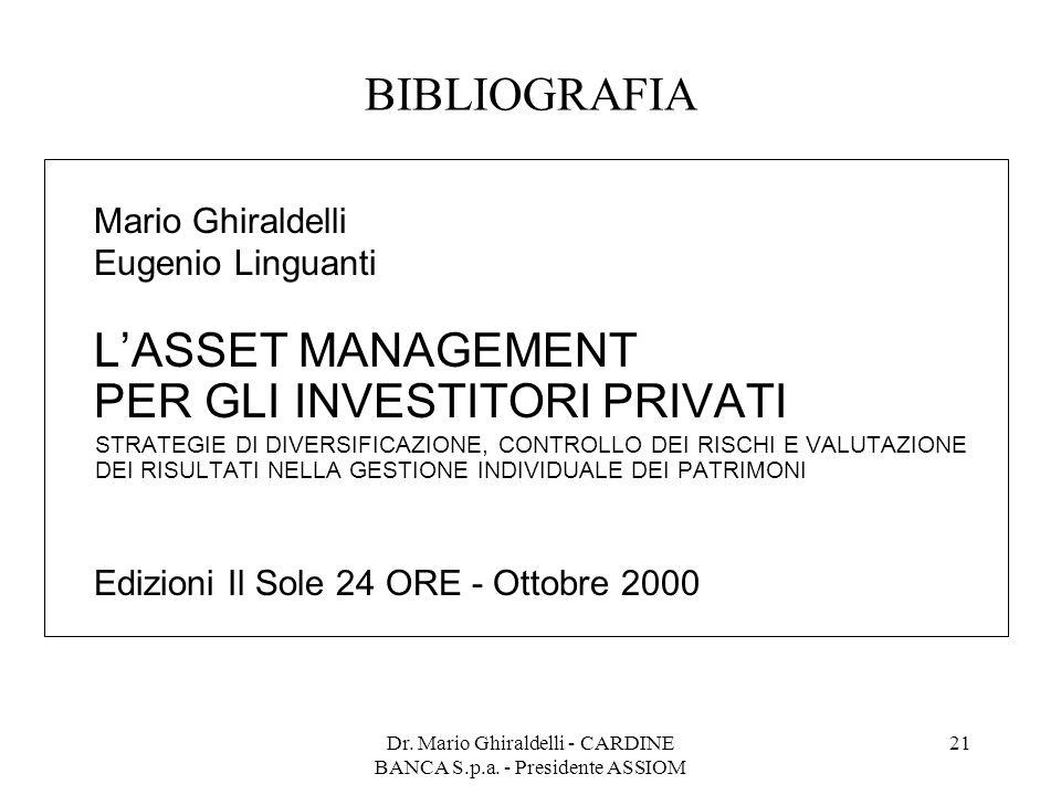 Dr. Mario Ghiraldelli - CARDINE BANCA S.p.a. - Presidente ASSIOM 21 BIBLIOGRAFIA Mario Ghiraldelli Eugenio Linguanti L'ASSET MANAGEMENT PER GLI INVEST