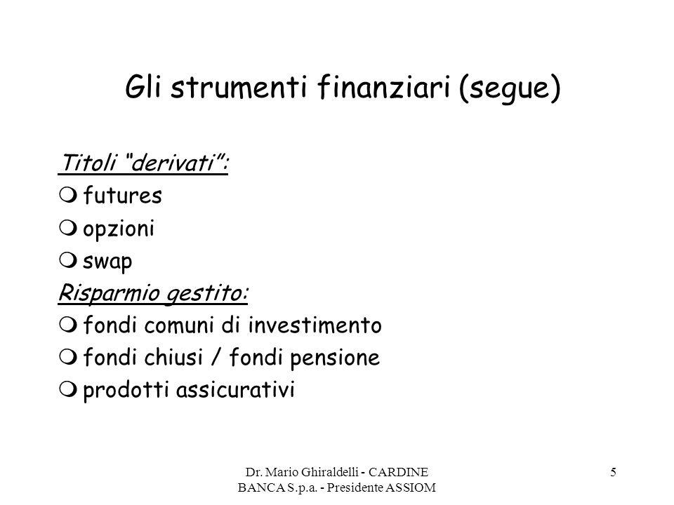 """Dr. Mario Ghiraldelli - CARDINE BANCA S.p.a. - Presidente ASSIOM 5 Gli strumenti finanziari (segue) Titoli """"derivati"""":  futures  opzioni  swap Risp"""