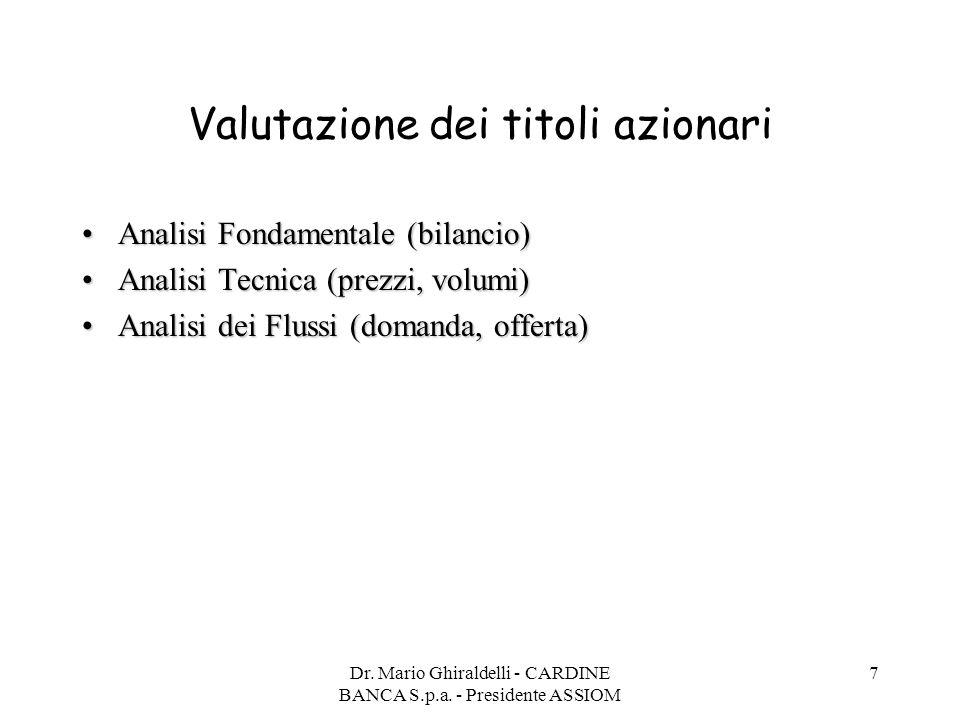 Dr. Mario Ghiraldelli - CARDINE BANCA S.p.a. - Presidente ASSIOM 7 Valutazione dei titoli azionari Analisi Fondamentale (bilancio)Analisi Fondamentale
