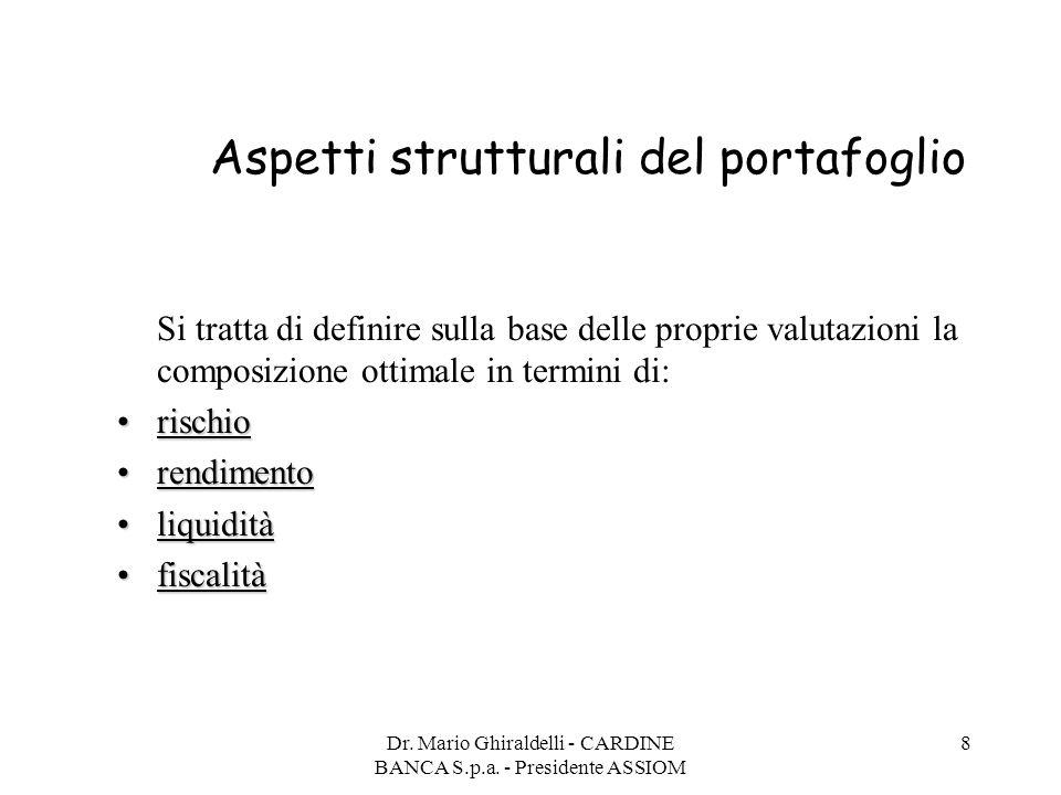 Dr. Mario Ghiraldelli - CARDINE BANCA S.p.a. - Presidente ASSIOM 8 Aspetti strutturali del portafoglio Si tratta di definire sulla base delle proprie