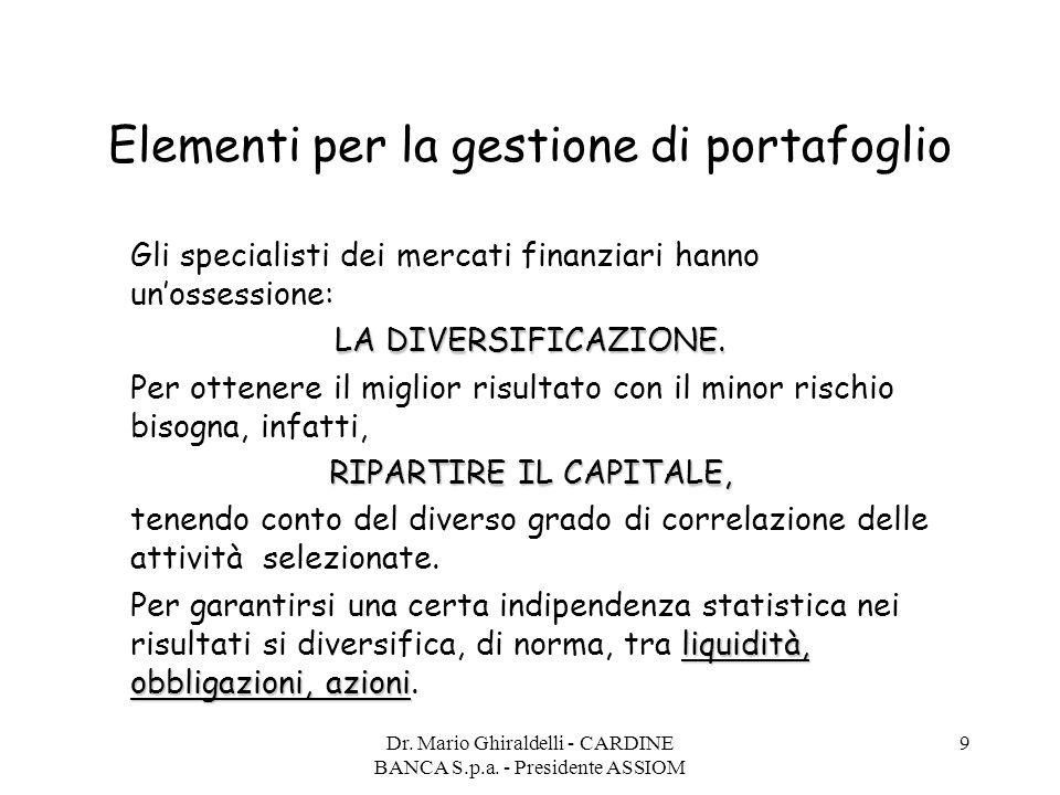 Dr. Mario Ghiraldelli - CARDINE BANCA S.p.a. - Presidente ASSIOM 9 Elementi per la gestione di portafoglio Gli specialisti dei mercati finanziari hann