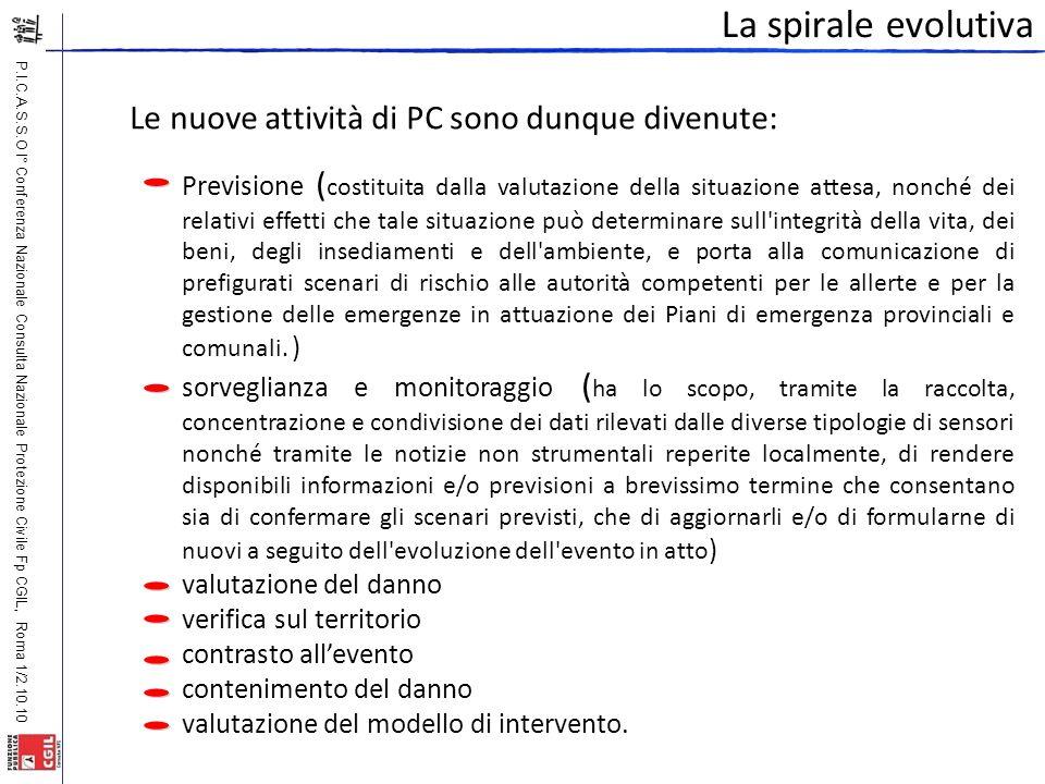 P.I.C.A.S.S.O I° Conferenza Nazionale Consulta Nazionale Protezione Civile Fp CGIL, Roma 1/2.10.10 La spirale evolutiva Le nuove attività di PC sono d