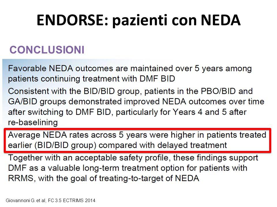 ENDORSE: pazienti con NEDA CONCLUSIONI Giovannoni G. et al, FC 3.5 ECTRIMS 2014