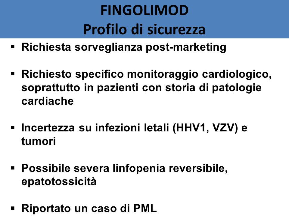 FINGOLIMOD Profilo di sicurezza  Richiesta sorveglianza post-marketing  Richiesto specifico monitoraggio cardiologico, soprattutto in pazienti con storia di patologie cardiache  Incertezza su infezioni letali (HHV1, VZV) e tumori  Possibile severa linfopenia reversibile, epatotossicità  Riportato un caso di PML