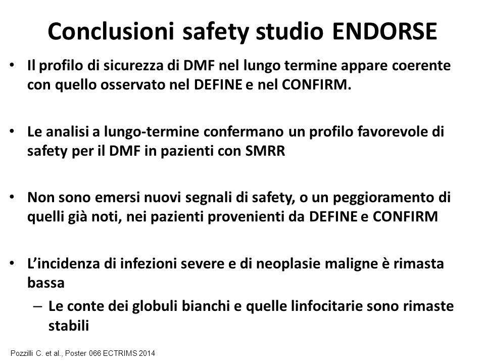 Conclusioni safety studio ENDORSE Il profilo di sicurezza di DMF nel lungo termine appare coerente con quello osservato nel DEFINE e nel CONFIRM. Le a