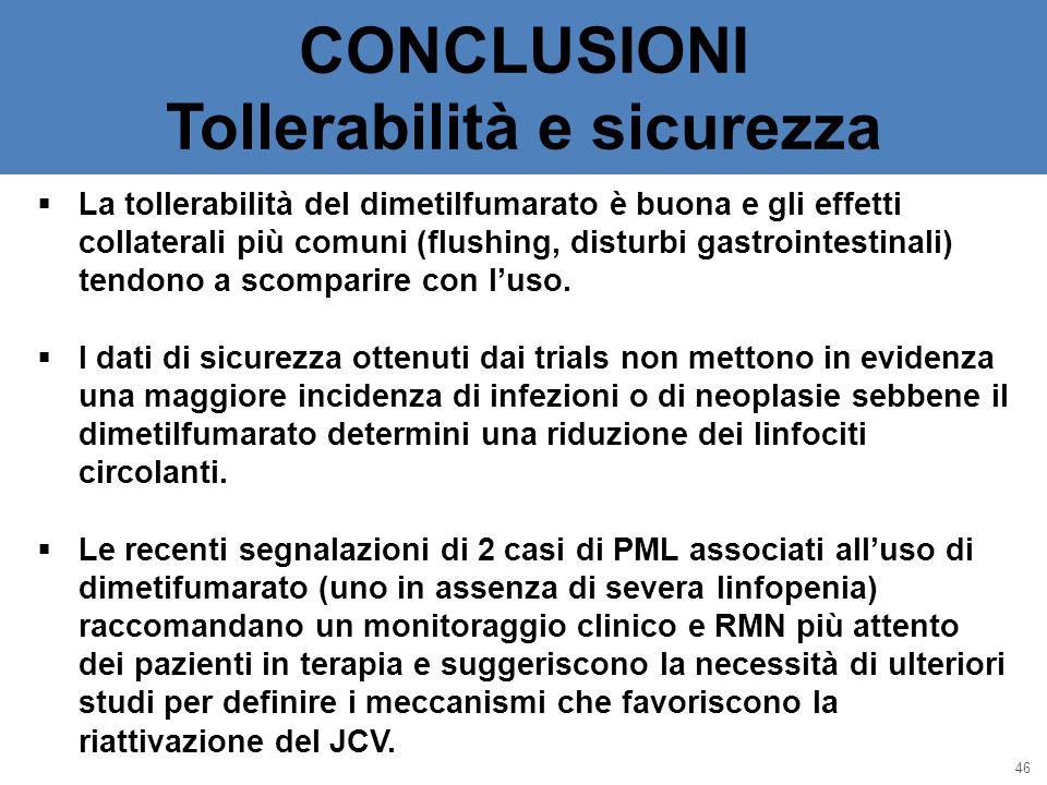 CONCLUSIONI Tollerabilità e sicurezza 46  La tollerabilità del dimetilfumarato è buona e gli effetti collaterali più comuni (flushing, disturbi gastr