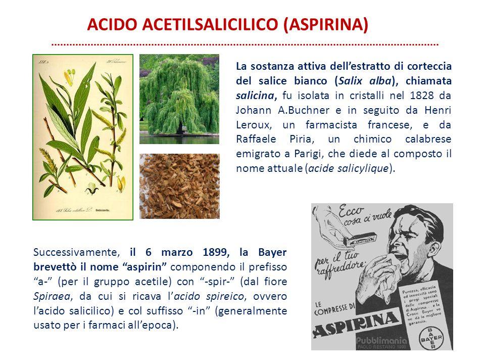 La sostanza attiva dell'estratto di corteccia del salice bianco (Salix alba), chiamata salicina, fu isolata in cristalli nel 1828 da Johann A.Buchner