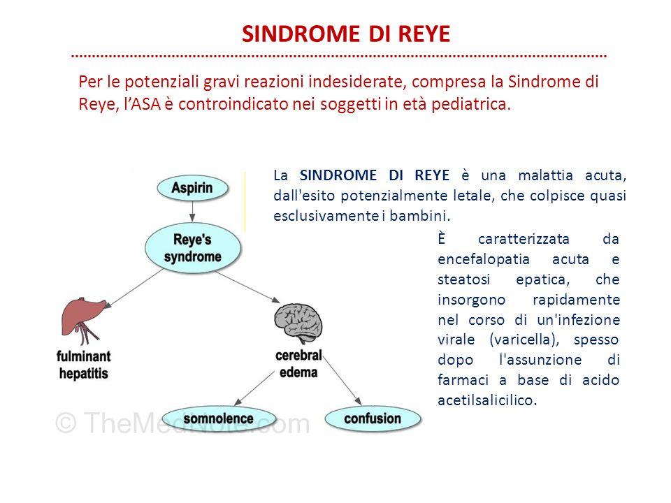 SINDROME DI REYE È caratterizzata da encefalopatia acuta e steatosi epatica, che insorgono rapidamente nel corso di un'infezione virale (varicella), s