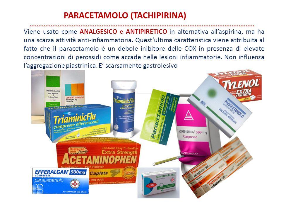 PARACETAMOLO (TACHIPIRINA) Viene usato come ANALGESICO e ANTIPIRETICO in alternativa all'aspirina, ma ha una scarsa attività anti-infiammatoria. Quest