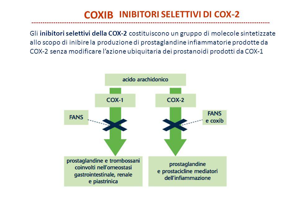 COXIB INIBITORI SELETTIVI DI COX-2 Gli inibitori selettivi della COX-2 costituiscono un gruppo di molecole sintetizzate allo scopo di inibire la produ