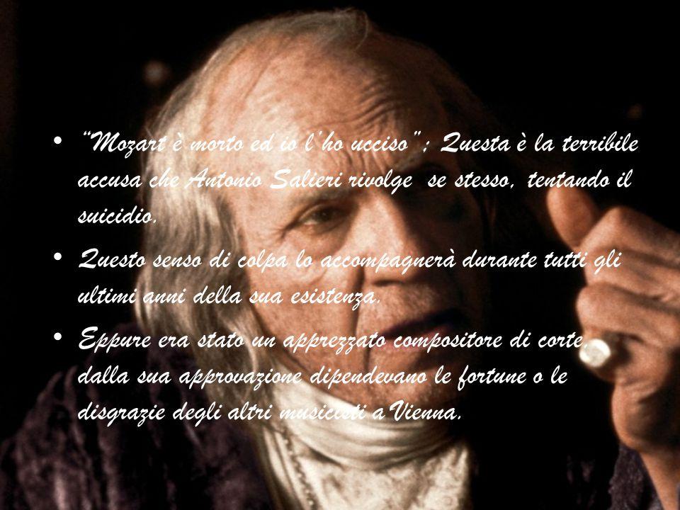 """""""Mozart è morto ed io l'ho ucciso""""; Questa è la terribile accusa che Antonio Salieri rivolge se stesso, tentando il suicidio. Questo senso di colpa lo"""