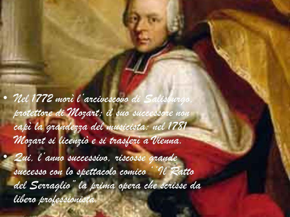Non gli rimane quindi che ostacolare in tutti i modi la carriera di Mozart, impedendogli l'ingresso a corte e procurandogli la possibilità di impartire lezioni, in modo da provocarne la sicura rovina economia.