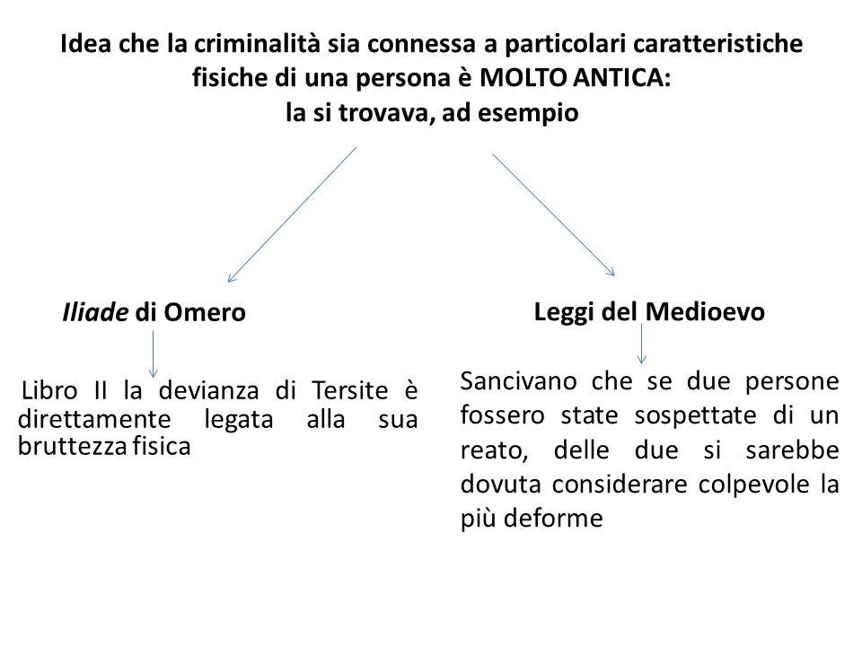 Idea che la criminalità sia connessa a particolari caratteristiche fisiche di una persona è MOLTO ANTICA: la si trovava, ad esempio Iliade di Omero Li