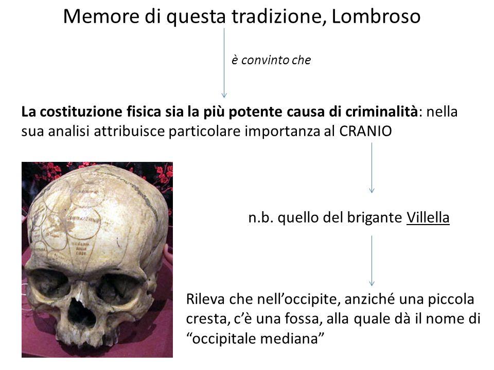 Memore di questa tradizione, Lombroso è convinto che La costituzione fisica sia la più potente causa di criminalità: nella sua analisi attribuisce par