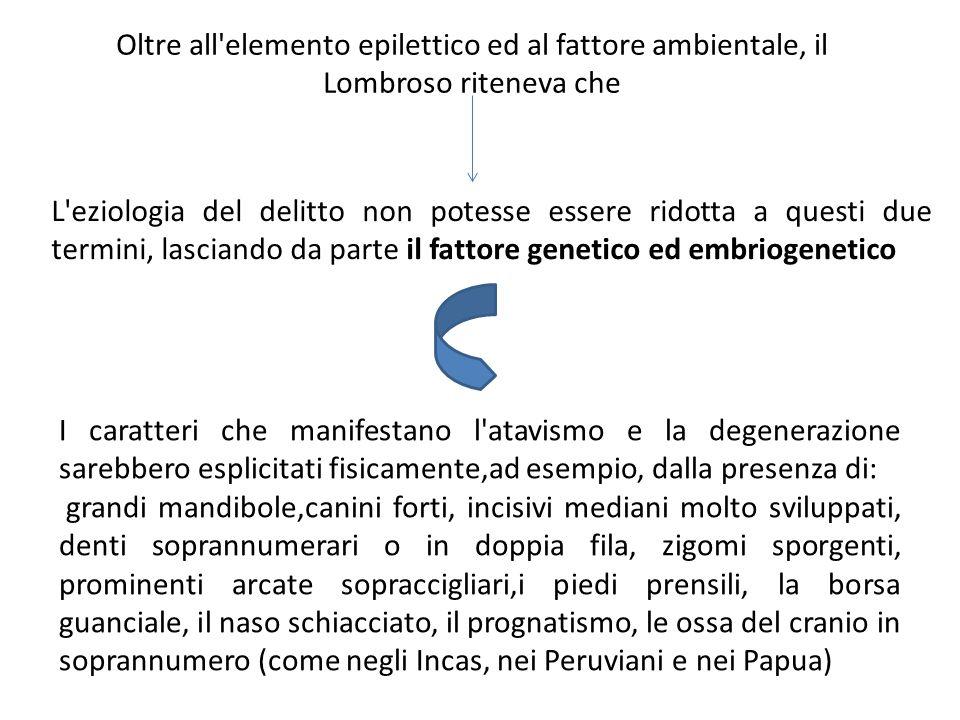 Oltre all'elemento epilettico ed al fattore ambientale, il Lombroso riteneva che L'eziologia del delitto non potesse essere ridotta a questi due termi