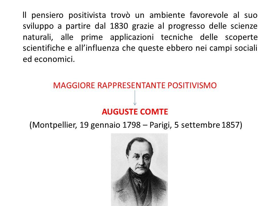 ll pensiero positivista trovò un ambiente favorevole al suo sviluppo a partire dal 1830 grazie al progresso delle scienze naturali, alle prime applica