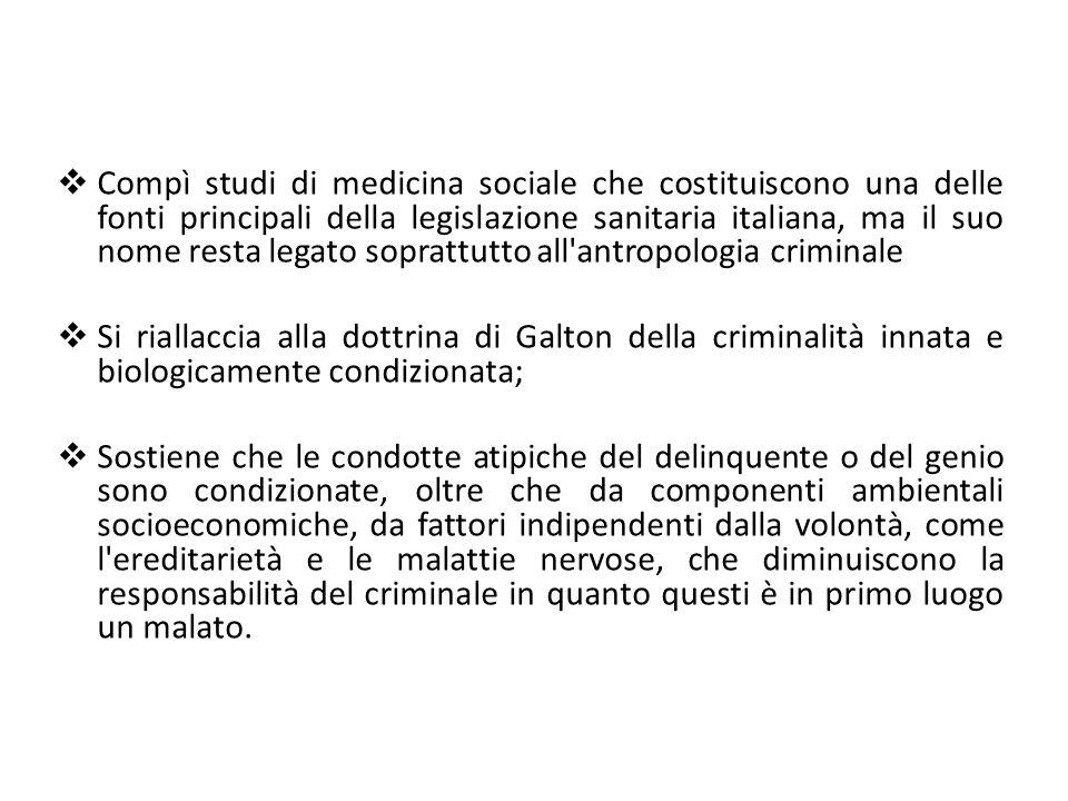  Compì studi di medicina sociale che costituiscono una delle fonti principali della legislazione sanitaria italiana, ma il suo nome resta legato sopr