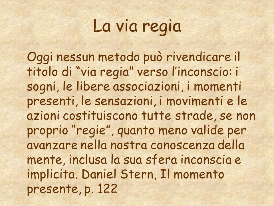 """La via regia Oggi nessun metodo può rivendicare il titolo di """"via regia"""" verso l'inconscio: i sogni, le libere associazioni, i momenti presenti, le se"""