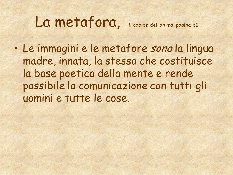La metafora, il codice dell'anima, pagina 61 Le immagini e le metafore sono la lingua madre, innata, la stessa che costituisce la base poetica della m