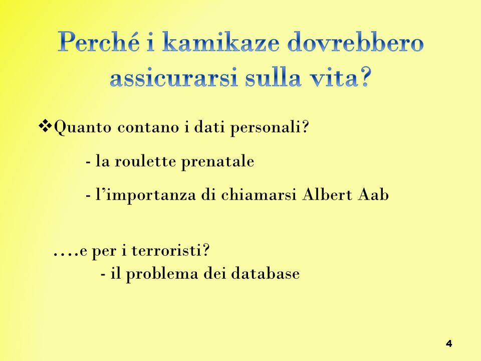 4  Quanto contano i dati personali? - la roulette prenatale - l'importanza di chiamarsi Albert Aab …. e per i terroristi? - il problema dei database
