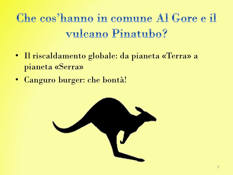 Il riscaldamento globale: da pianeta «Terra» a pianeta «Serra» Canguro burger: che bontà! 9